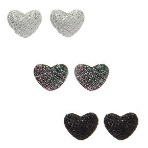 Button Heart Stud Earrings - 3 Pack,