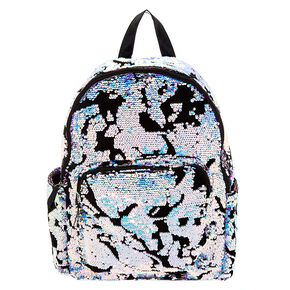 Velvet Reversible Sequin Functional Backpack - Purple,