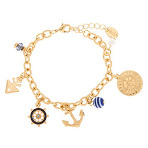 Gold Nautical Charm Bracelet,