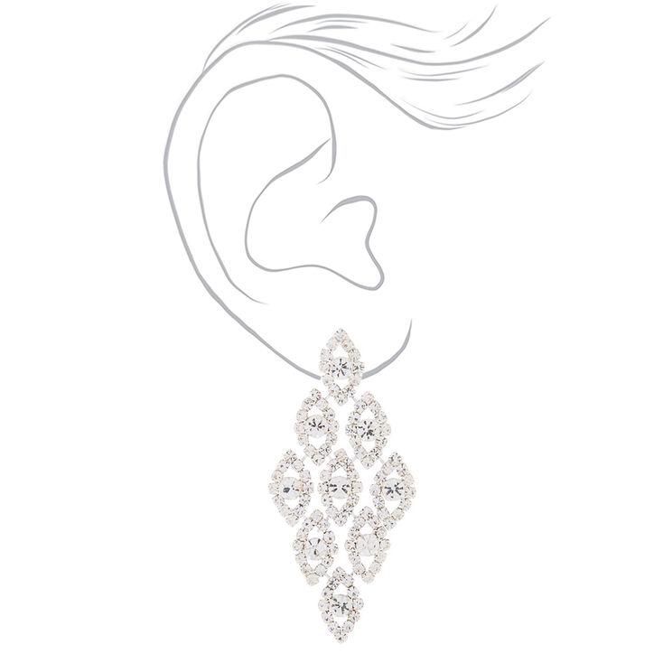 """Silver 2.5"""" Glass Rhinestone Chandelier Earrings,"""