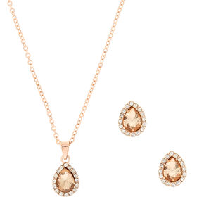 Rose Gold Teardrop Pave Jewelry Set,