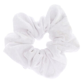 Large Velvet Hair Scrunchie - White,