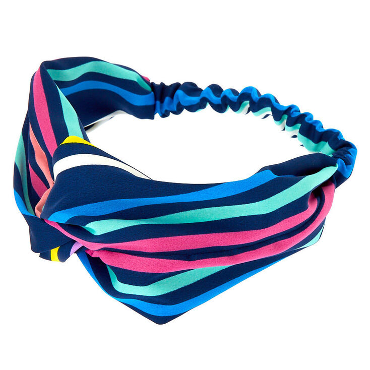 Rainbow Stripe Knot Headwrap - Navy,