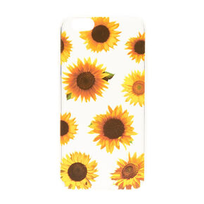Clear Sunflower Print Phone Case,