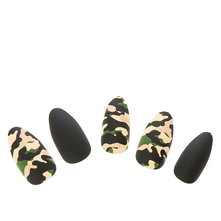 Matte Camo Faux Nail Set - Green, 24 Pack,