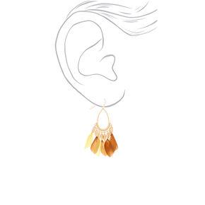 """Gold 2"""" Feather Teardrop Drop Earrings - Yellow,"""