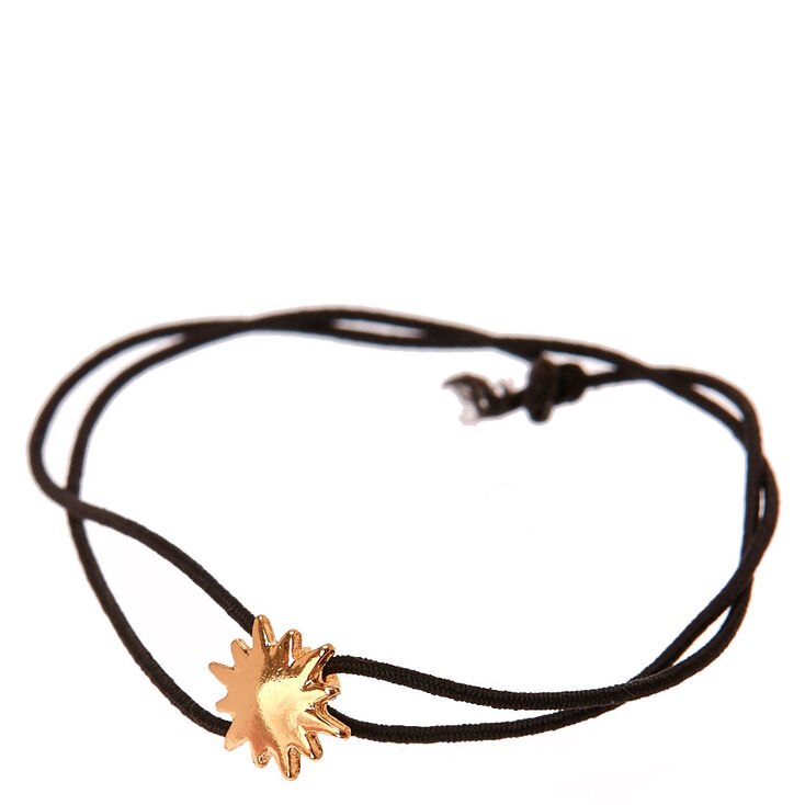 Gold Starburst & Black Stretch Bracelet,