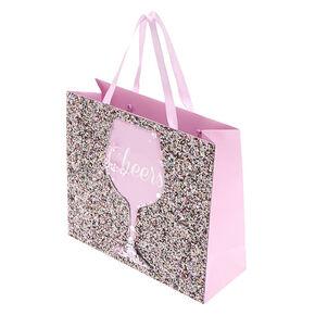 Medium Cheers Shaker Glitter Gift Bag - Pink,