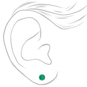 Silver Cubic Zirconia 5MM Round Stud Earrings - Green, 3 Pack,