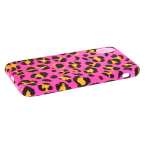 Neon Pink Leopard Print Phone Case - Fits iPhone XR,