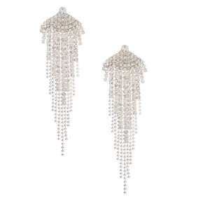 "Silver Rhinestone 3"" Fanned Fringe Drop Earrings,"