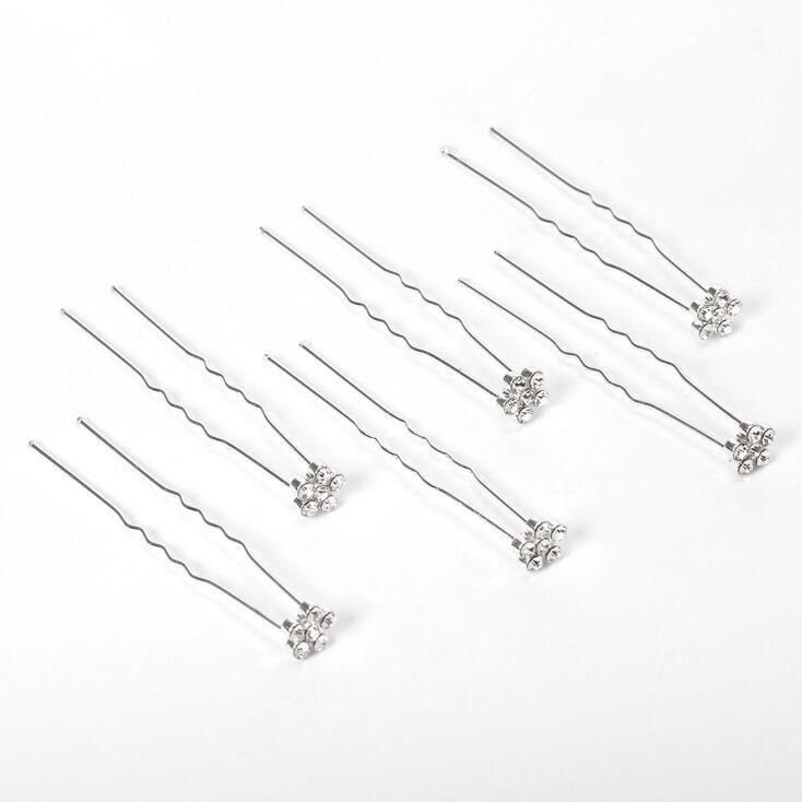 Silver Rhinestone Daisy Flower Hair Pins - 6 Pack,