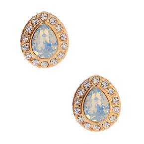 Gold Embellished Teardrop Stud Earrings - Mint,