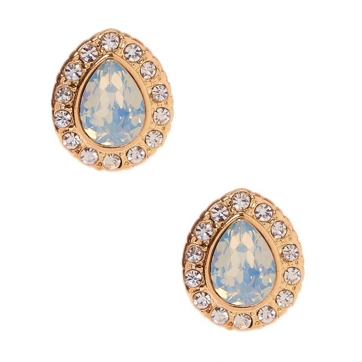 Gold Embellished Teardrop Stud Earrings - Mint,