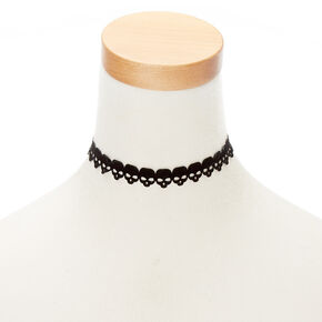 Velvet Skull Choker Necklace - Black,