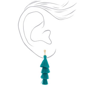"2.5"" Tiered Tassel Drop Earrings - Green,"