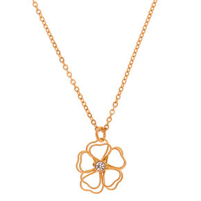Gold Wire Flower Pendant Necklace,