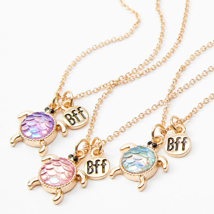 Best Friends Holographic Turtle Pendant Necklaces - 3 Pack,