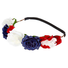 Patriotic Flower Crown Headwrap,