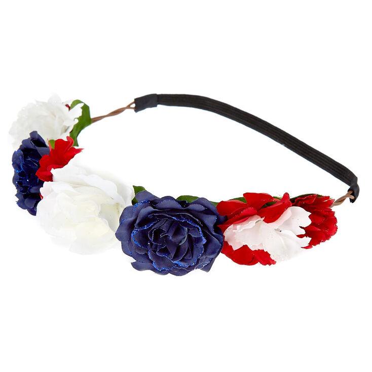 Patriotic Flower Crown Headwrap,