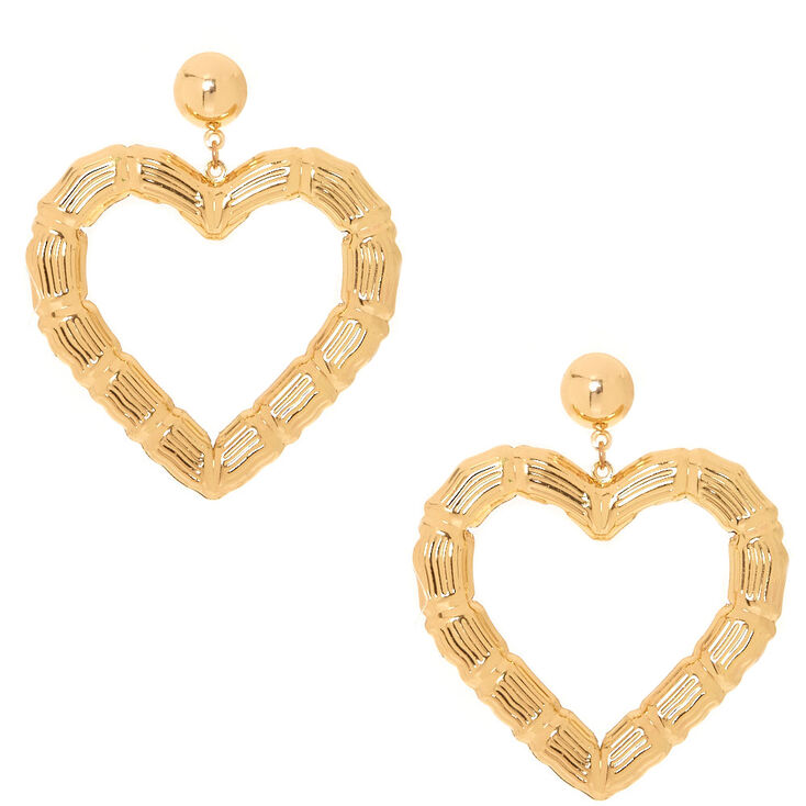 Gold-Tone Textured Heart Drop Earrings,