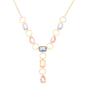 Gold Pastel Shine Y-Neck Statement Necklace,