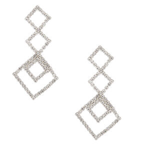 "Silver Rhinestone 2"" Triple Diamond Drop Earrings,"