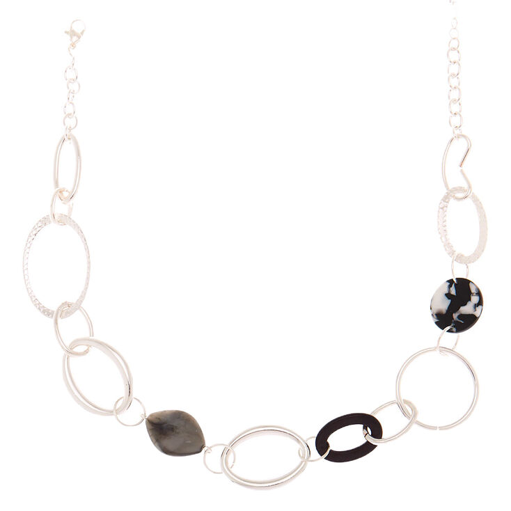 Silver Resin Link Statement Necklace - Black,