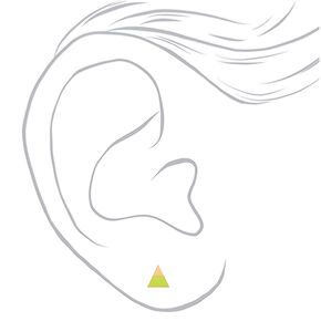 Gold Triangle Neon Stud Earrings - Yellow,