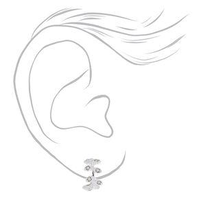 Silver 10MM Crystal Leaf Hoop Earrings,