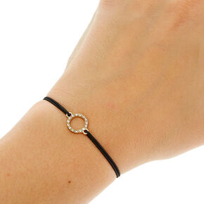 Black Double Stretch Bracelet with Pendant,