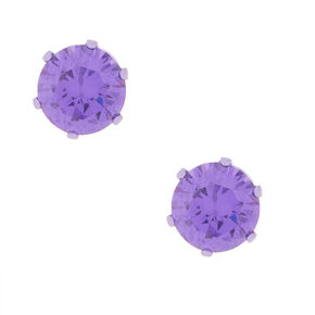 8MM Purple Cubic Zirconia Stud Earrings,