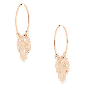 Rose Gold 25MM Filigree Flower Hoop Earrings,