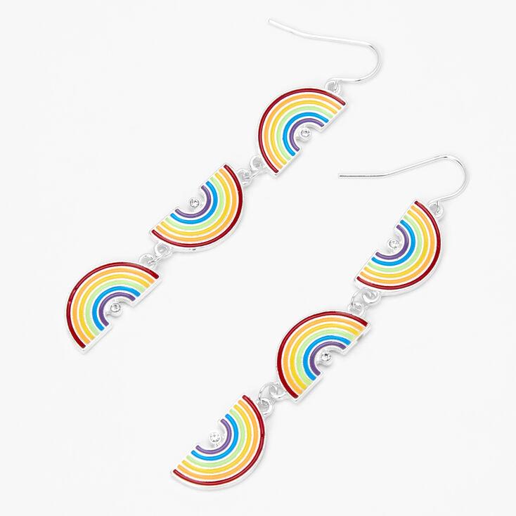 Rainbow 3'' Linear Drop Earrings,