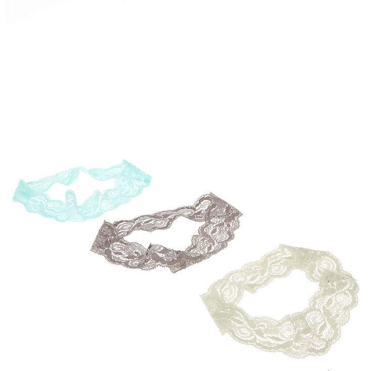 Mint & Gray Floral Lace Headwraps,
