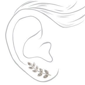 Faux Crystal Leaves Silver Tone Ear Crawler,