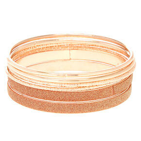 Rose Gold Mixed Bangle Set,