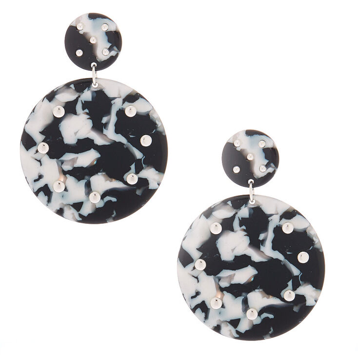 "2"" Black & White Resin Circle Drop Earrings,"
