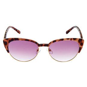Leopard Browline Cat Eye Sunglasses - Brown,