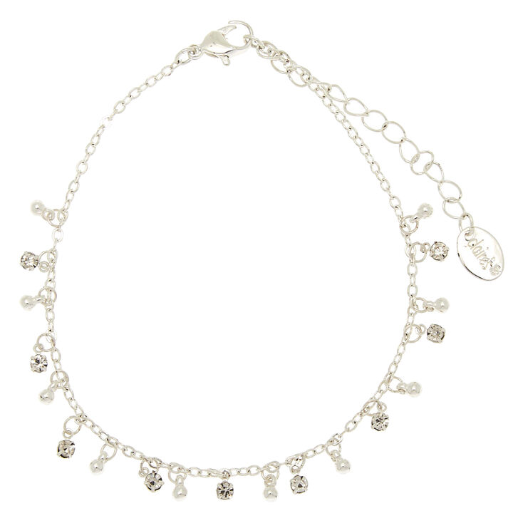 Silver Embellished Beaded Anklet,