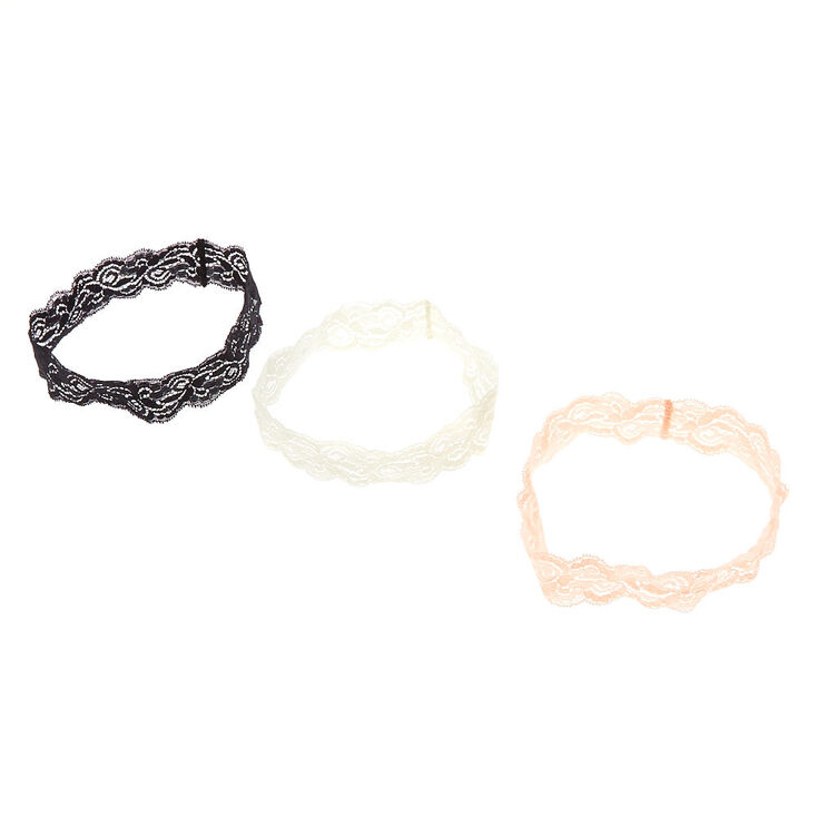 3 Pack Black & Pale Pink Floral Lace Headwraps,