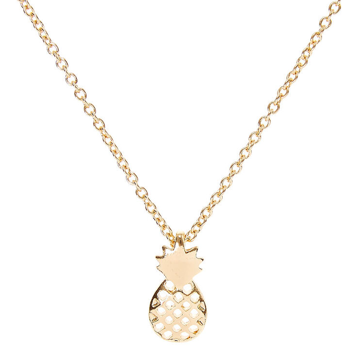 Gold Toned Pineapple Pendant Necklace,
