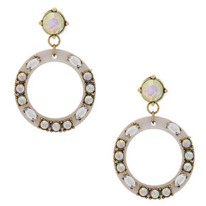 "2"" Circle Drop Earrings - Gray,"