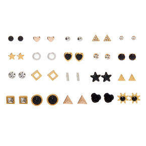 Mixed Metal Stud Earrings - 20 Pack,