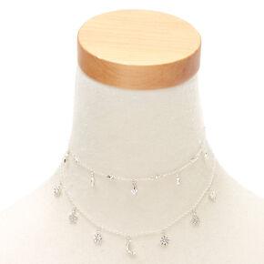 Silver Celestial Charm Multi Strand Necklace,