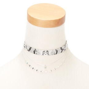 Silver Snakeskin Choker Necklaces - 2 Pack,