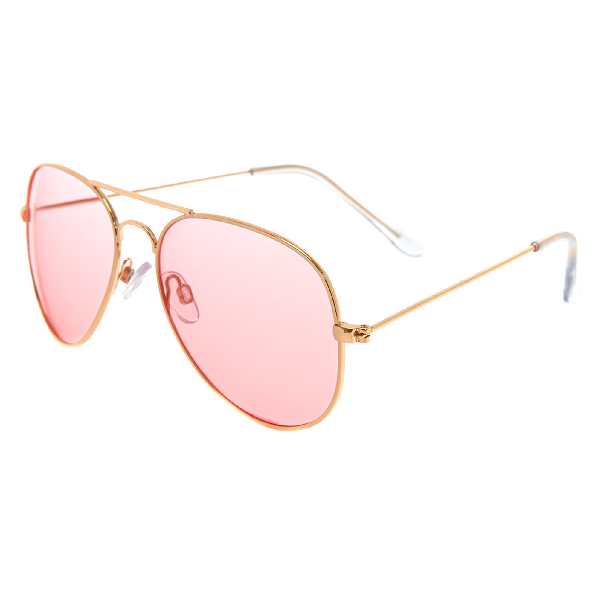 a195148af61 Pink Tinted Aviator Sunglasses - Gold