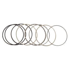 8 Pack Black & Silver Bangle Bracelets,