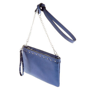 Blue Metallic Sheen Studded Clutch Bag,