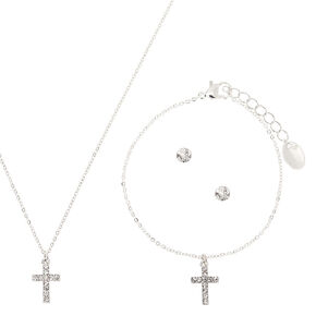 Silver Cross Jewelry Set - 3 Pack,